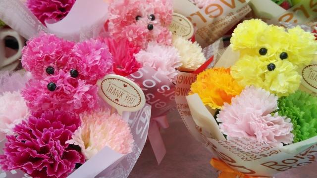 犬、花、プリザーブドフラワー、花束、フラワーアレンジメント