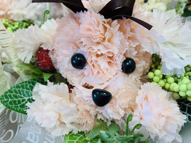 犬、花、フラワーアレンジメント、プリザーブドフラワー